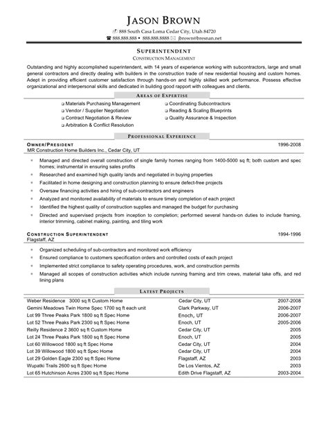 resume templates and exles superintendent resume sales superintendent