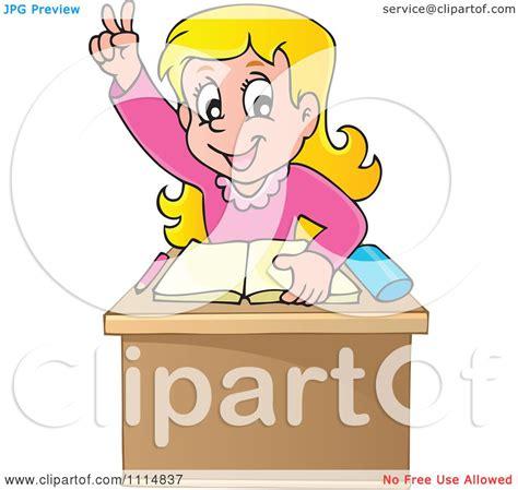 raising royalty books clipart blond school raising at desk