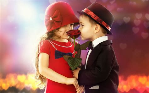 wallpaper couple with rose kiss cute child couple boy girl rouse wallpaper