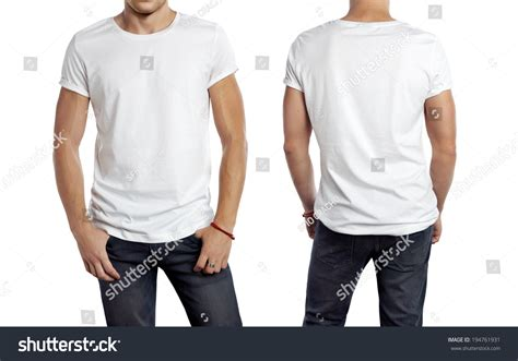 Tshirt Mens White Front white t shirt on a isolated front and back