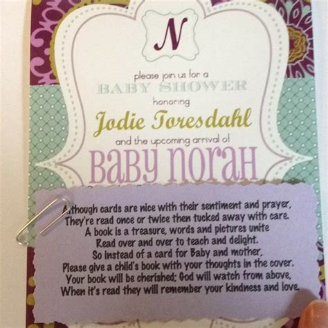 baby shower book poem instead of card bring a book instead of a card baby shower poem baby