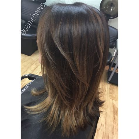 medium length hair style low lights medium short length hair cut with layers balayage ombr 233