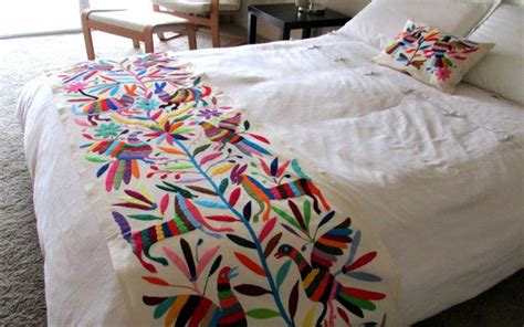 mexican embroidered bedding otomi embroidered fabric king bedspread handmade original