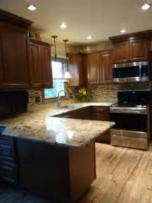 Granite With Cherry Cabinets In Kitchens Kitchen Makeover With Cherry Cabinets Coffee Color Granite And Glass Back