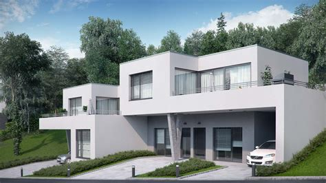 duplex building duplex house 3d exterior visualization in walding austria