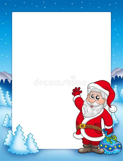 Vom Weihnachtsmann Briefvorlage frame with santa claus 2 stock illustration