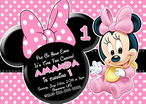 Minnie Mouse Birthday Card Template by Minnie Mouse Invitation Template Cyberuse