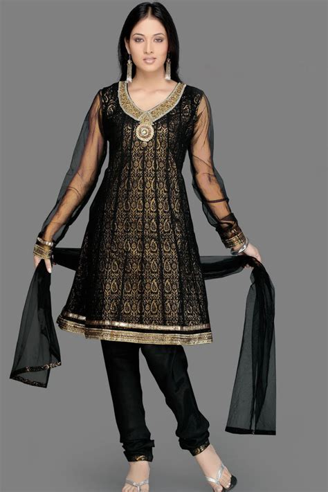 beautiful black churidar eid salwar kameez for girls