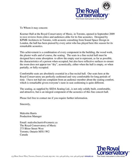 Reference Letter Of Toronto royal conservatory of toronto canada seda sport