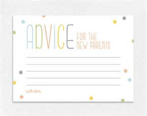 advice for the new parents baby shower advice card baby