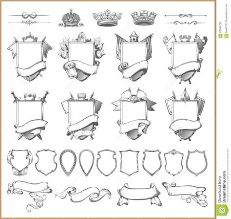 vector heraldic element collection and coat of arms