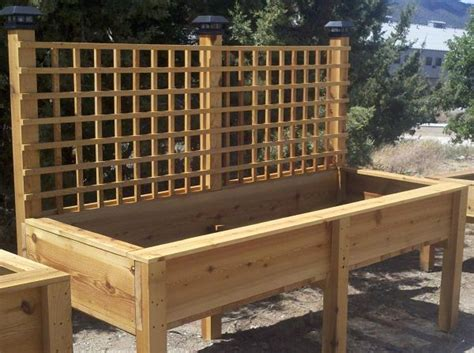 Elevated Planter Box by Raised Planter Box With Lattice And Lights Raised Garden
