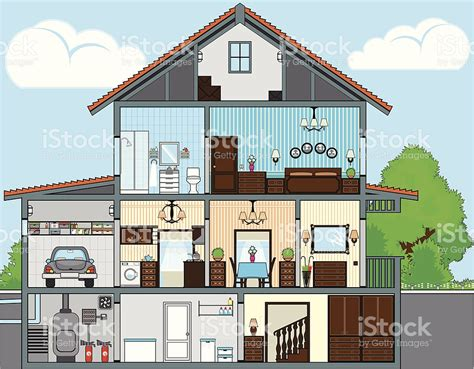 drawing of a house with garage cutaway of house stock vector art more images of