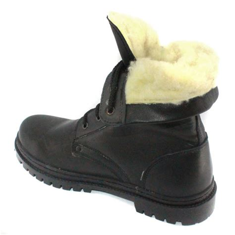 russian winter leather boots with fur