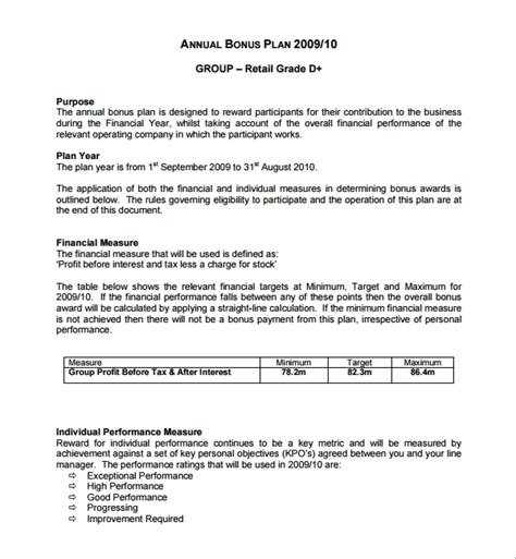 performance bonus template 7 bonus plan templates sle templates