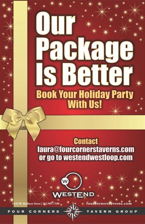 book your holiday party at westend westend pinterest