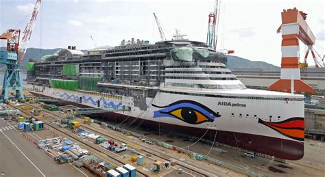 cruises in dry dock aidaprima cruise ship drydock and painting youtube