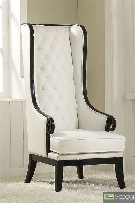 high back winged armchair neo classic opal black white high back accent wing arm