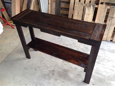 Diy Rustic Stained Pallet Sofa Table And Entry Table Pallet Sofa Table