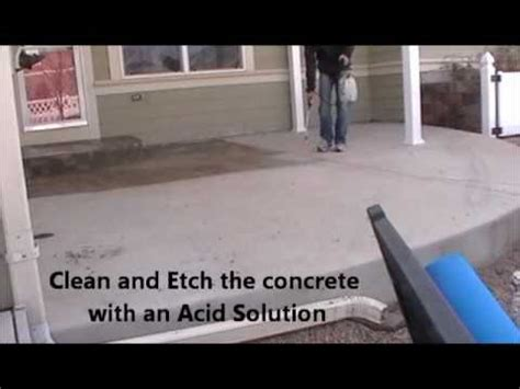 how to clean a stained concrete patio youtube concrete stain applied to patio youtube