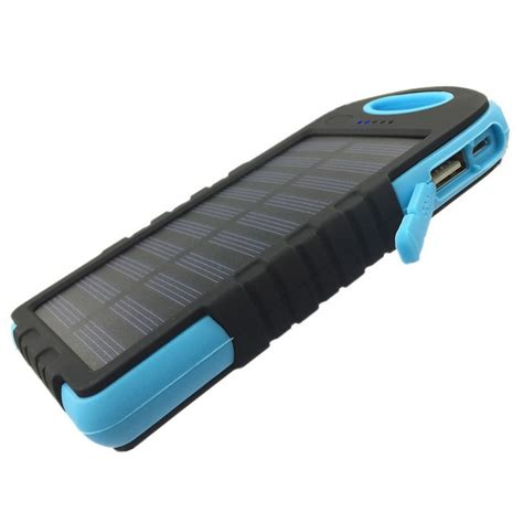 Power Bank Solar 5000mah outdoor cing 5000mah solar power bank w led light blue black free shipping dealextreme