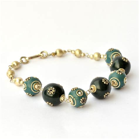 Handmade Bead Bracelet - handmade bracelet black blue studded with