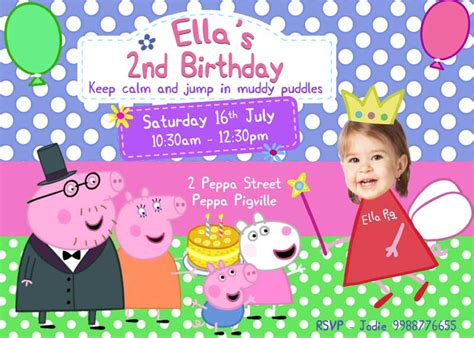 peppa pig birthday card template birthday invitation word template peppa pig