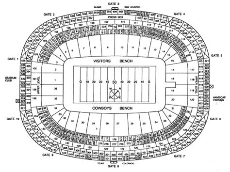texas stadium map landry s tickets seating chart texas stadium irving tx