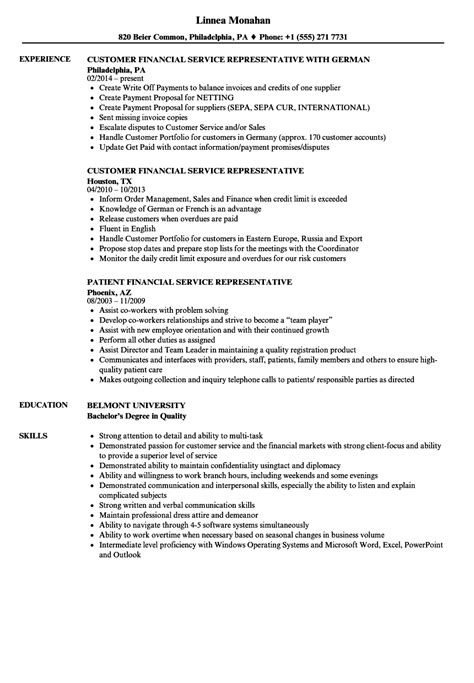 financial service representative resume sles velvet