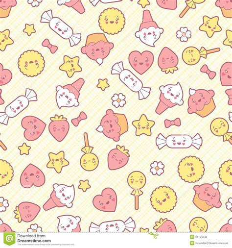 cake background pattern vector seamless kawaii pattern with cute cakes stock vector