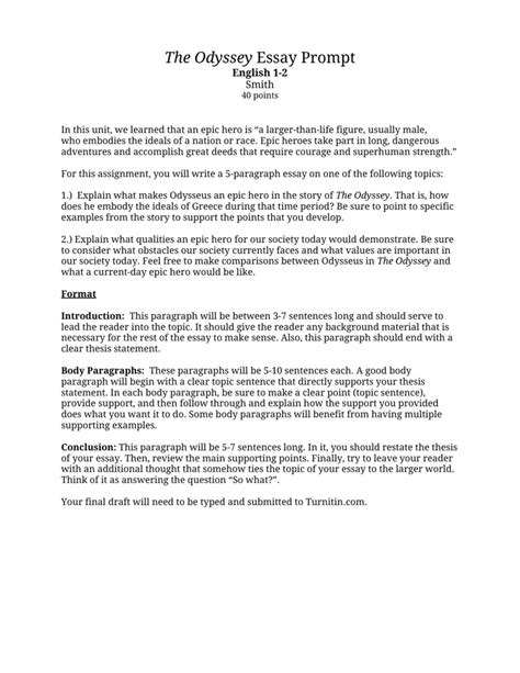 Heroic Essay by Epic Essay Assignment Docoments Ojazlink
