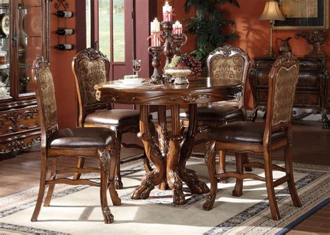 Acme Acme Dresden 5 Pc Round Counter Height Dining Table Set In | acme dresden 5 pc counter height dining set