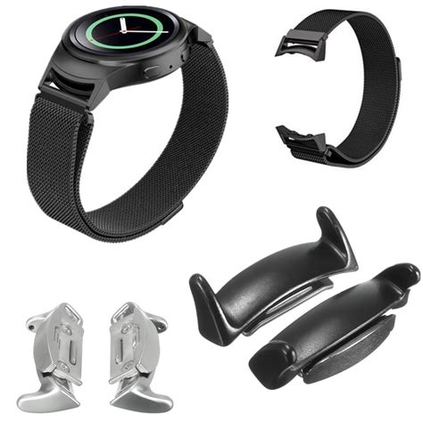 Samsung Gear Fit 2 Adapter Metal Connector Clasp Band 2x stainless steel band connector adapter for samsung gear s2 rm720 sale banggood