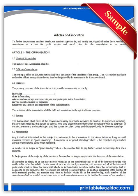 articles of association template free printable articles of association form generic