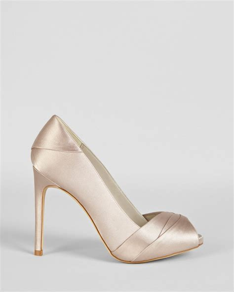 satin high heels lyst millen peep toe pumps pleated satin