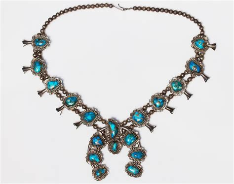 morenci turquoise squash blossom necklace navajo sterling