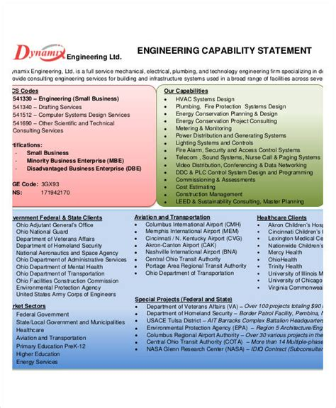 capability statement template capability statement templates 10 free pdf documents