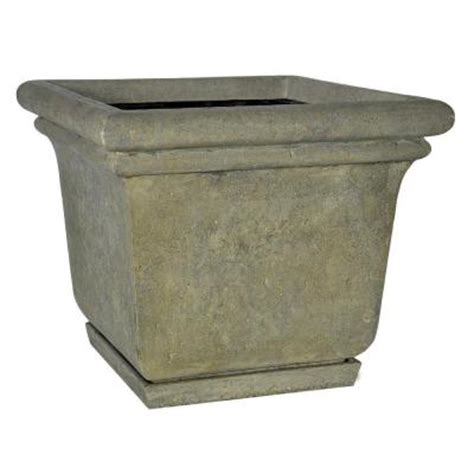 home depot large planters mpg 24 in square aged granite cast planter with attached saucer pf5762ag the home depot