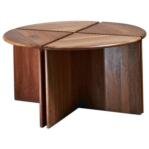 wooden side table in four stackable parts 1960s for sale