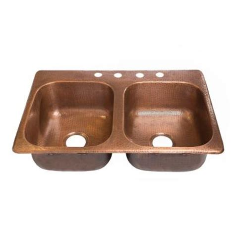 Drop In Copper Kitchen Sinks Sinkology Raphael Drop In Handmade Solid Copper 33 In 4 Bowl Kitchen Sink In