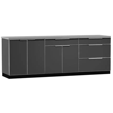 Cabinet Covers For Kitchen Cabinets Newage Products Aluminum Slate 4 97x36x24 In Outdoor Kitchen Cabinet Set With Covers