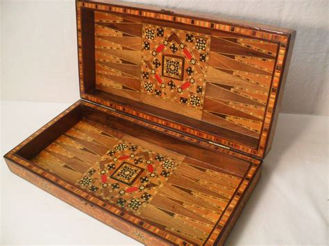gorgeous antique middle eastern inlaid folding chess