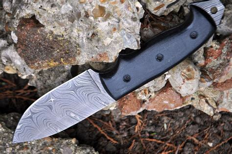 Handmade Knives Uk - custom made damascus knife tang micarta