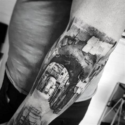 olde city tattoo big black and white real photo like black ink city