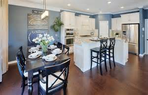 the slate blue walls gives refreshing vibe space without shaped kitchen designs for small kitchensl island