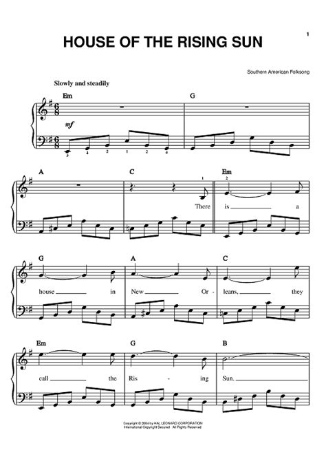 sheet music for house of the rising sun house of the rising sun sheet music for piano and more sheetmusicnow com