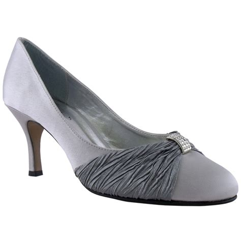 silver satin mid heel evening court shoes size 5 ebay