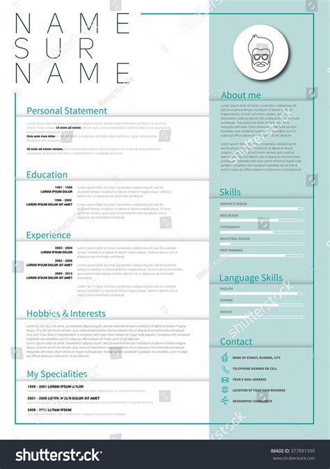 Minimalist Cv Resume Template Simple Design Stock Vector 377891599 Shutterstock Minimalist Resume Template