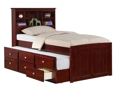 With Trundle Bed by Solid Wood Espresso Bookcase Captains Bed W Trundle