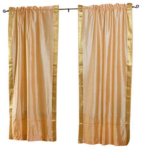 asian curtain gold rod pocket sheer sari curtain drape panel pair